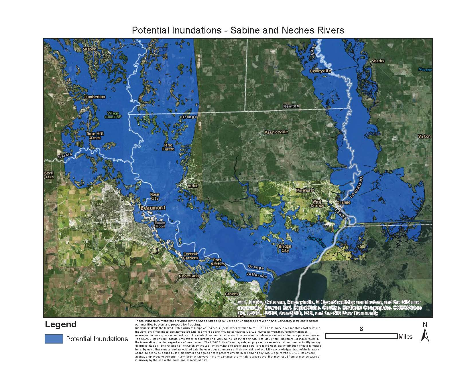 Sabine and Neches rivers potential flood maps > Galveston ...