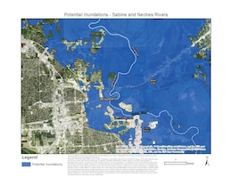 """""""These inundation maps depicting the Sabine and Neches rivers are provided by the United States Army Corps of Engineers Fort Worth and Galveston Districts to assist communities to plan and prepare for flooding."""