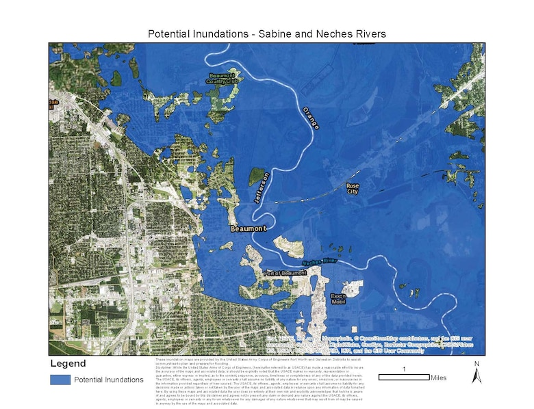 """These inundation maps depicting the Sabine and Neches rivers are provided by the United States Army Corps of Engineers Fort Worth and Galveston Districts to assist communities to plan and prepare for flooding."