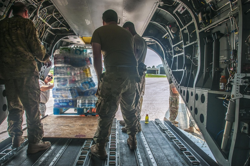 U.S. Army Reserve aviators from the 7th Battalion (General Support Aviation Battalion), 158th Aviation Regiment , stationed in Conroe, Texas and currently assigned to Task Force Iron Eagle, are conducting water re-supply missions to Beaumont. An anonymous billionaire donated three semi-trailers full of bottle water to relieve water shortages caused by Hurricane Harvey. (U.S. Army Reserve photo by Capt. Loyal Auterson/U.S. Army Reserve Command)(Released)
