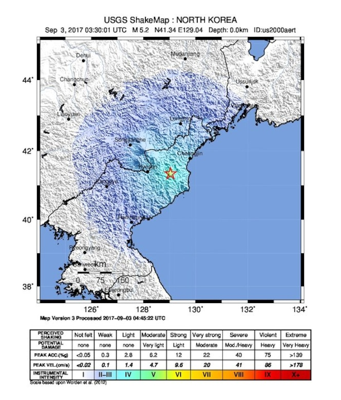 This graphic from the U.S. Geological Survey's Earthquake Hazards Program shows a shake map from the magnitude 6.3 explosion-generated earthquake that took place Sept. 3, 2017, 22 kilometers east-northeast of Sungjibaegam, North Korea. A shake map is a product of the USGS Earthquake Hazards Program in conjunction with the regional seismic networks. Shake maps provide near-real-time maps of ground motion and shaking intensity following significant earthquakes. U.S. Geological Survey graphic