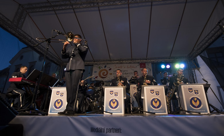U.S. Air Force Staff Sgt. James Hubbard, U.S. Air Forces in Europe jazz band trombone, plays a solo during a concert for the 73rd anniversary of the Slovak National Uprising in Bratislava, Slovakia, Aug. 30, 2017. On Aug. 29, 1944, the Slovakian army started an uprising against the pro-Nazi government of the time. The USAFE band represents unique international musical heritage, building and preserving partnerships through official multi-national military and international community outreach events. (U.S. Air Force photo by Senior Airman Tryphena Mayhugh)