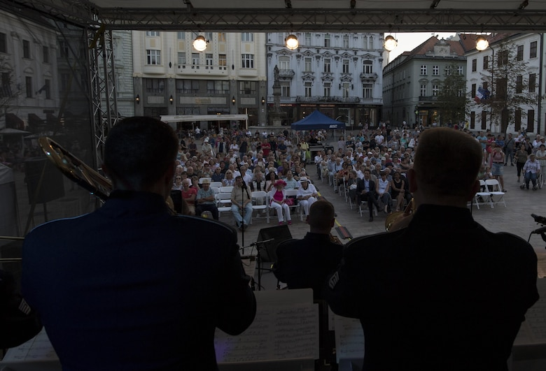 U.S. Air Force Staff Sgt. James Hubbard, U.S. Air Forces in Europe jazz band trombone (right), and U.S. Air Force Tech. Sgt. Jeffrey Reich, USAFE jazz band trumpet (left), play their instruments during a concert for the 73rd anniversary of the Slovak National Uprising in Bratislava, Slovakia, Aug. 30, 2017. Participating in events with NATO allies improves interoperability and strengthens long standing relationships. (U.S. Air Force photo by Senior Airman Tryphena Mayhugh)