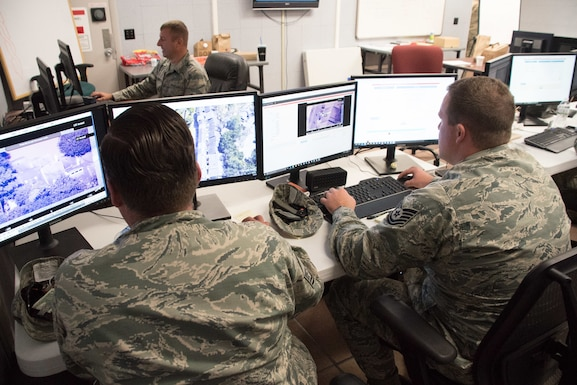 Airmen of the 102d Intelligence Surveillance Reconnaissance Group at Otis Air National Guard Base, Massachusetts provide imagery analysis support for Hurricane Harvey first responders.  When tasked for domestic operations, Air National Guard intelligence analysts utilize different equipment and networks, but apply the same analytical tradecraft and problem solving skills that they use in their federal mission overseas.