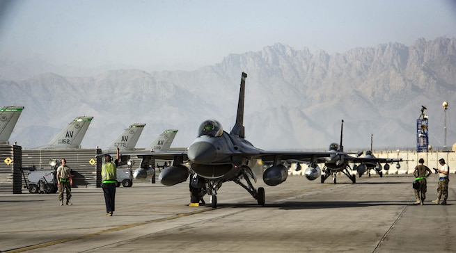 F-16 Fighting Falcons taxi on the flightline at Bagram Airfield, Afghanistan, Aug. 31, 2017. The F-16s are from Aviano Air Base, Italy, and were added to Bagram's fleet, bolstering their ability to provide close-air support for coalition forces. The pilots and aircraft are assigned to the 455th Air Expeditionary Wing. Air Force photo by Staff Sgt. Benjamin Gonsier