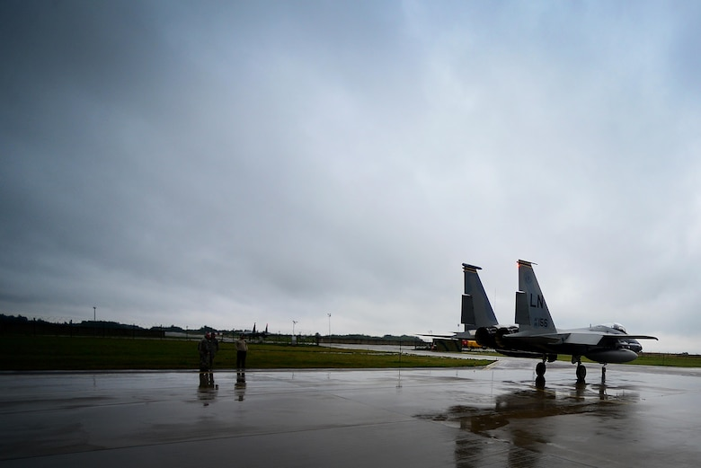 Alert F-15Cs from the 493rd Expeditionary Fighter Squadron respond to an alert scramble notification at Siauliai Air Base, Lithuania, Sept. 4, 2017. The F-15C is uniquely suited for the Baltic Air Policing mission with its capability to detect, acquire, track and intercept opposing aircraft while operating in friendly or rival-controlled airspace at distances beyond visual range down to close range, and at altitudes down to treetop level. (U.S. Air Force photo/ Tech. Sgt. Matthew Plew)