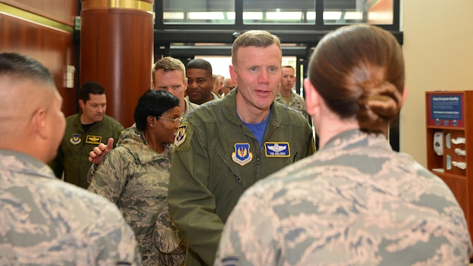 Gen. Tod Wolters, U.S. Air Forces in Europe and Air Forces Africa commander, greets Airmen from the 31st Medical Group, Sept. 1, 2017, at Aviano Air Base, Italy. The commander spent the day visiting Airmen throughout several base facilities and spoke with the 31st Fighter Wing leadership. (U.S. Air Force photo by Airman 1st Class Ryan Brooks)