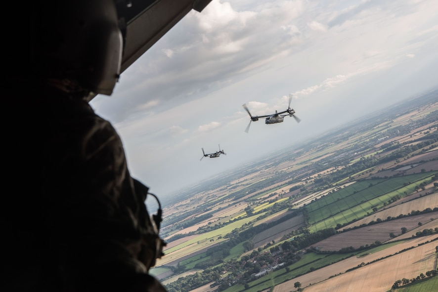 CV-22 Osprey's from the 352d Special Operations Wing and HH-60 Pave Hawks from the 48th Fighter Wing flew together in a joint formation around southern England Aug. 31, 2017. This flight gave pilots of both units the ability to practice working together in different formations and to hone how they would act and react as a team.