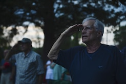 """Attendees salute during the national anthem at the """"Music Under the Stars"""" season finale concert at Joint Base Langley-Eustis, Va., Aug. 31, 2017."""