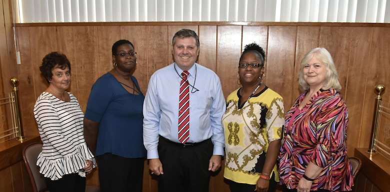 New 2017-2019 American Society of Military Comptrollers - Middle Tennessee Chapter officers (left to right) – Angela Teesdale, treasurer; Alveda Gaines, secretary; Darrell Day, president; Laquisha Highsmith, 2nd vice president; Rhonda Ward, 1st vice president. (U.S. Air Force photo/ Rick Goodfriend)