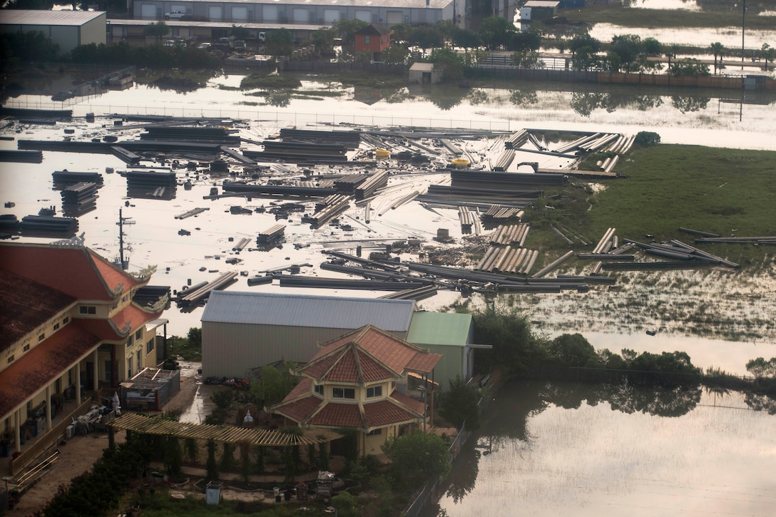 An aerial view shows significant damage caused by Hurricane Harvey