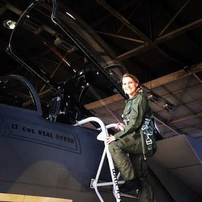 Capt. Kaci Dixon poses for a photo before an incentive flight on an F-15 in March 2014 at Klamath Fall, Ore. (Courtesy photo)