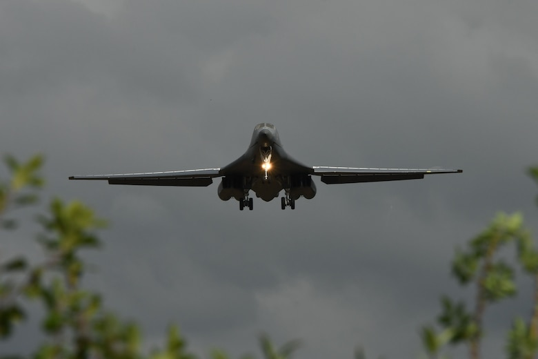 A B-1B Lancer comes in for a landing at Royal Air Force Fairford, United Kingdom, Sept. 4, 2017.