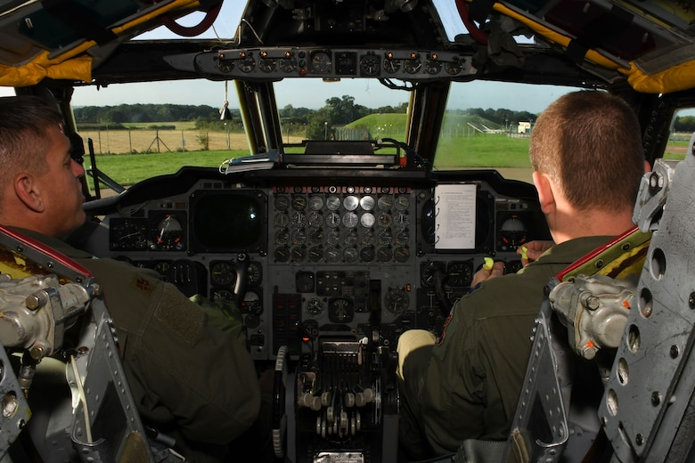 Pilots from the 343rd Bomb Squadron run through their checks in the cockpit of a B-52 Stratofortress at Royal Air Force Fairford, United Kingdom, Sep. 1, 2017.