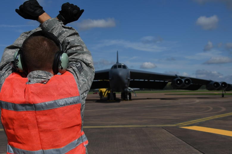 Another B-52 Stratofortress is marshalled into place at Royal Air Force Fairford, United Kingdom, Sep. 1, 2017.
