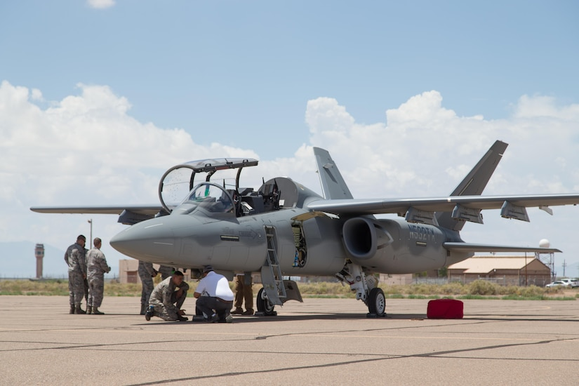 A Textron Scorpion experimental aircraft sits at Holloman Air Force Base, New Mexico, July 31. The Scorpion is participating in the U.S. Air Force Light Attack Experiment (OA-X), a series of trials to determine the feasibility of using light aircraft in attack roles. (U.S. Air Force photo by Christopher Okula)