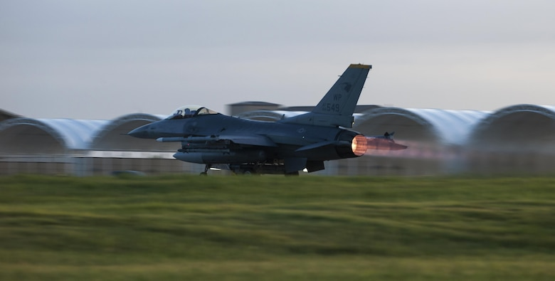 A U.S. Air Force F-16 Fighting Falcon takes off from the runway at Kunsan Air Base, Republic of Korea, Aug. 23, 2017. Airmen assigned to the 8th Fighter Wing participated in Beverly Pack 17-3, a five-day, regularly-scheduled operational readiness exercise, which tested the base's ability to respond to various scenarios in a contingency environment. (U.S. Air Force photo by Staff Sgt. Victoria H. Taylor/Released)