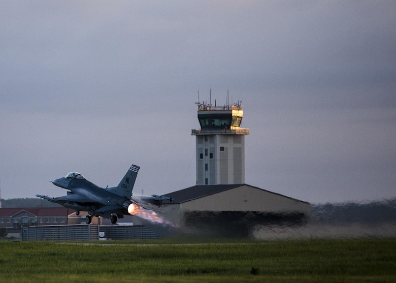 A U.S. Air Force F-16 Fighting Falcon takes off from the runway at Kunsan Air Base, Republic of Korea, Aug. 23, 2017. Airmen assigned to the 8th Fighter Wing and the 115th Fighter Wing, Wisconsin Air National Guard, participated in Beverly Pack 17-3, a five-day, regularly-scheduled operational readiness exercise, which tested the base's ability to respond to various scenarios in a contingency environment. Airmen from the 115th FW are deployed to Kunsan for a 4-month rotation as part of a Theater Security Package, which helps to maintain a deterrent against threats to regional security and stability. (U.S. Air Force photo by Senior Airman Colville McFee/Released)