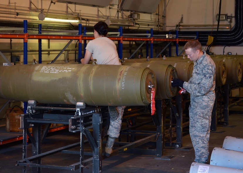 48th Munitions Squadron Airmen build munitions at Royal Air Force Lakenheath, England, recently. Twice a year, every March and September, the squadron completes a 100 percent inventory. (Courtesy photo)