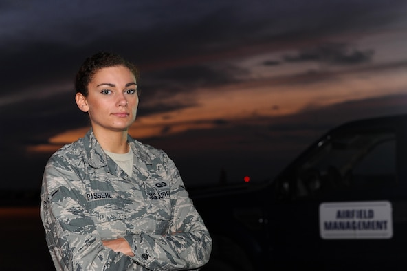 Airman Rachel Passehl, 19th Operations Support Squadron Airfield Management apprentice, conducts airfield checks Aug. 28, 2017, at Little Rock Air Force Base, Ark. Airfield management has a multitude of missions with the sole purpose of maintaining a safe airfield environment. Nighttime operations involve dealing with hazards not as apparent during the day, such as nocturnal wildlife. (U.S. Air Force photo by Airman 1st Class Grace Nichols)