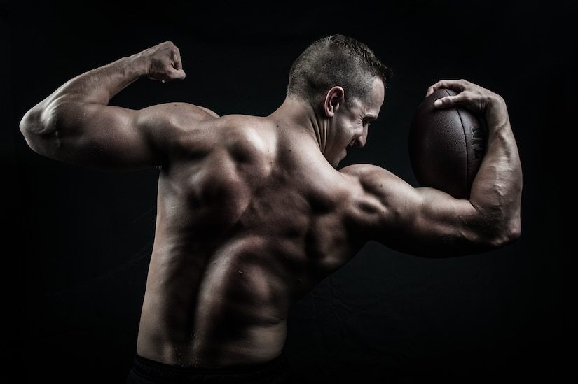 U.S. Air Force 1st Lt. James LaCoste, 633rd Force Support Squadron chief career development element, practices bodybuilding competition poses at Joint Base Langley-Eustis, Va., July 20, 2017. Since completing the Organization of Competition Bodies' Colonial Open bodybuilding competition, LaCoste has been focused on regaining his muscle strength and size. (U.S. Air Force photo by Staff Sgt. J.D. Strong II)
