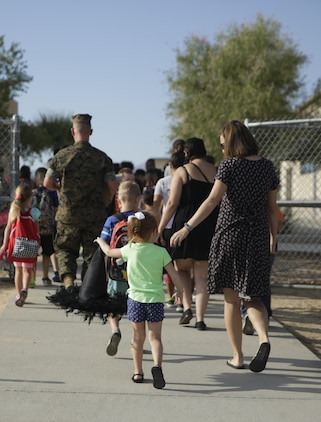 Back to school season began at Condor Elementary aboard the Marine Corps Air Ground Combat Center, Twentynine Palms, Calif., August 21, 2017. Condor Elementary is a professional learning community that offers equitable learning opportunities for all its of members.