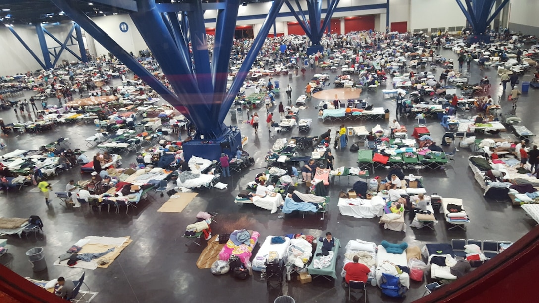 Evacuees in a Texas shelter following the landfall of Hurricane Harvey. (Courtesy photo/Senior Master Sgt. Russell Weatherby)