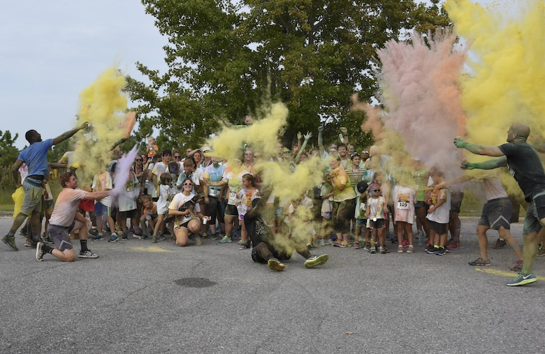 – In a multi-tiered effort to raise esprit de corps, community outreach, and raise money for the 2017 Tyndall Air Force Ball, Tyndall hosted its second annual 5K color run/walk Aug. 26, 2017. The event allowed approximately 100 participants from Tyndall and the surrounding area to enjoy a fun run with their friends and family.
