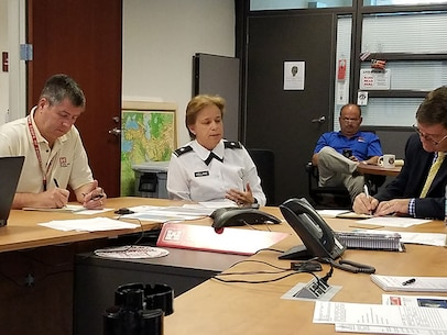 BG Diana M. Holland, South Atlantic Division Commander, leads discussion of plans to respond to a potential double strike by Hurricane Irma.