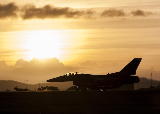 A U.S. Air Force F-16 Fighting Falcon takes off from the runway at Kunsan Air Base, Republic of Korea, Aug. 23, 2017. Airmen assigned to the 8th Fighter Wing participated in Beverly Pack 17-3, a five-day, regularly-scheduled operational readiness exercise, which tested the base's ability to respond to various scenarios in a contingency environment. (U.S. Air Force photo by Senior Airman Colville McFee/Released)
