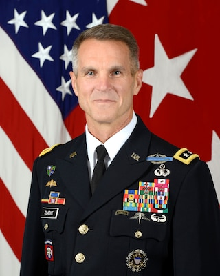 U.S. Army Lt. Gen. Richard D. Clarke, Director, Strateggic Plans and Policy (J5, Joint Staff), poses for a command portrait in the Army portrait studio at the Pentagon in Arlington, VA, Aug. 9, 2017.