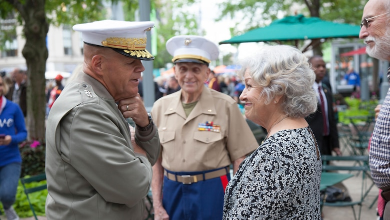 Commandant of the Marine Corps, General Robert Neller spent time with gold-star mothers before the opening ceremony at Marine Week Detroit, Sept. 6, 2017. Marine Week Detroit is an opportunity to commemorate the unwavering support of the American people, and show the Marines Corps' continued dedication to protecting the citizens of this country.