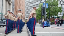 Marines stand in formation upon their arrival to the Marine Week Detroit opening ceremony Campus Martius Park, Detroit, Sept. 6th, 2017. Marine Week Detroit is an opportunity to commemorate the unwavering support of the American people, and show the Marines Corps' continued dedication to protecting the citizens of this country.