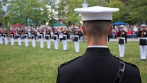 U.S. Marine Capt. Gregory Jurschak, Platoon Commander, over looks The Marine Corps Silent Drill Platoon at Campus Martius during the Marine Week Detroit opening ceremony, Sept. 6, 2017.  Marine Week Detroit is an opportunity to commemorate the unwavering support of the American people, and show the Marines Corps' continued dedication to protecting the citizens of this country.