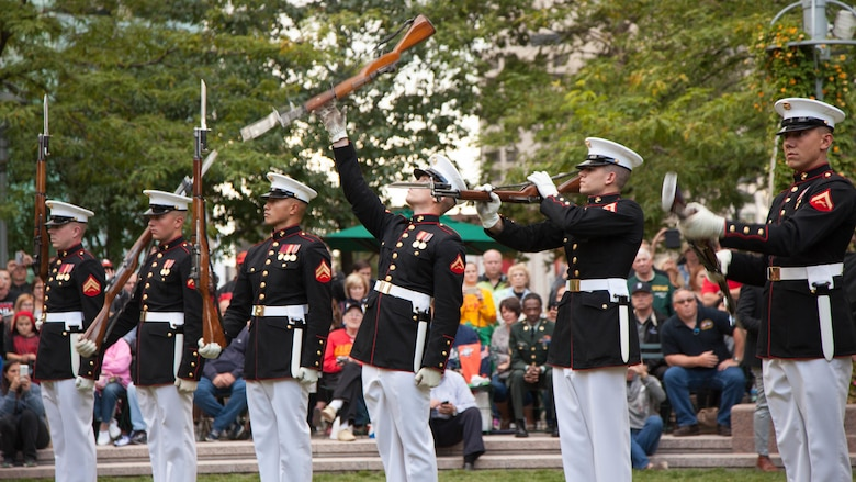 The Marine Corps Silent Drill Platoon performs at the Marine Week Detroit opening ceremony, Sept. 6, 2017. Marine Week Detroit is an opportunity to commemorate the unwavering support of the American people, and show the Marines Corps' continued dedication to protecting the citizens of this country.