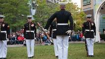 The Marine Corps Silent Drill Platoon performs at Campus Martius during the Marine Week Detroit opening ceremony, Sept. 6, 2017. More than 700 Marines are participating in Marine Week Detroit to give the citizens of the greater Detroit area the opportunity to meet their Marines and celebrate community, country and Corps.