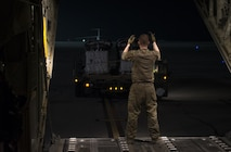 Senior Airman Tom Saunders, a 774th Expeditionary Airlift Squadron loadmaster, inspects the propellers of a C-130J Super Hercules as it starts up at Bagram Airfield, Afghanistan, Aug. 24, 2017. The 774th Expeditionary Airlift Squadron conducted their first combat airdrop in nearly two-and-a-half years, resulting in the successful delivery of 11,000 pounds of equipment to coalition forces. (U.S. Air Force photo by Staff Sgt. Benjamin Gonsier)