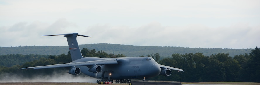 C-5A Galaxy 70-0461 departs from the runway September 7, 2017, at Westover Air Reserve Base, Mass. 0461 is the last C-5A in the Air Force and is destined for the boneyard at Davis-Monthan Air Force Base, Ariz. where it is set to retire. (U.S. Air Force photo by Airman Hanna N. Smith)