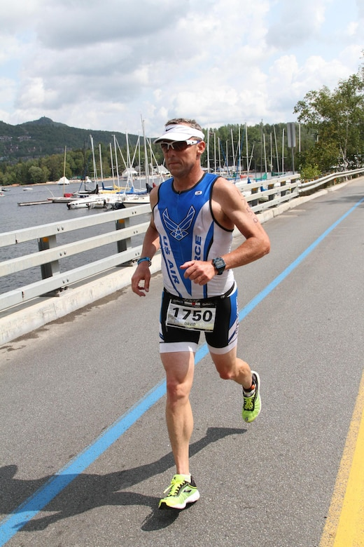 Col. David Smith competes in his fourth Ironman competition last month in Mont-Tremblant in Quebec, Canada.