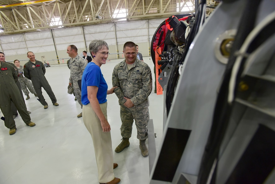 Master Sgt. Eric gets recognized by the Secretary of the Air Force Heather Wilson on Creech Air Force Base