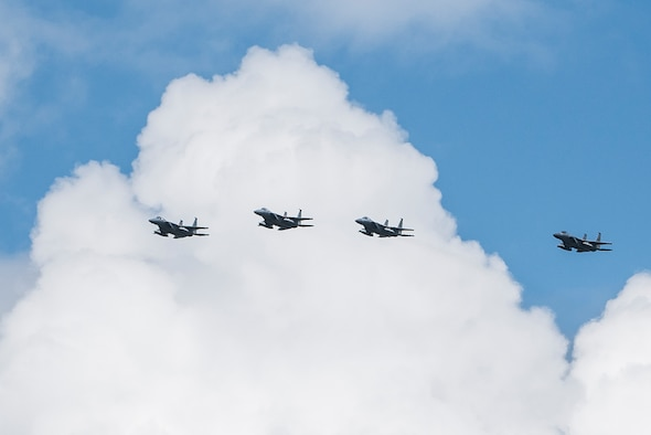 Four F-15C aircraft from the 125th Fighter Wing in Jacksonville, Fla., circle the runway of Wright-Patterson Air Force Base, Ohio, in preparation for landing and safe haven support, Sept. 7, 2017. The F-15 was one of several planes using Wright-Patterson AFB as a Safe Haven while Hurricane Irma threatens their home station. (U.S. Air Force photo by Wesley Farnsworth)