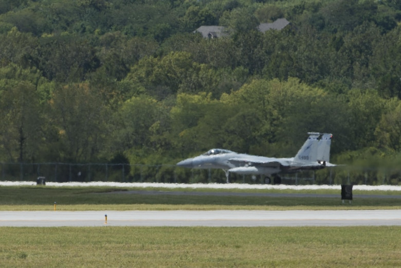 An F-15C aircraft from the 125th Fighter Wing in Jacksonville, Fla., lands at Wright-Patterson Air Force Base, Ohio, for safe haven support, Sept. 7, 2017. The F-15 was one of several planes using Wright-Patterson AFB as a Safe Haven while Hurricane Irma threatens their home station. (U.S. Air Force photo by Wesley Farnsworth)
