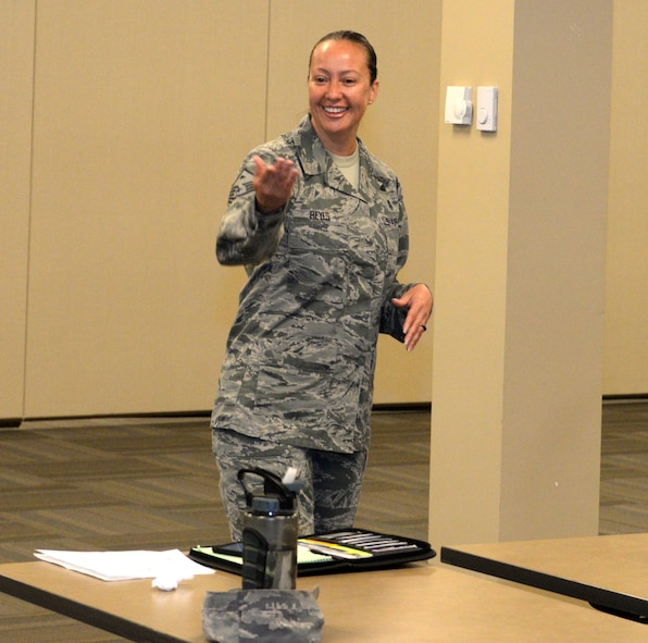 Master Sgt. Sibyl Reyes, the first sergeant for the 28th Contracting Squadron, questions noncommissioned officers during Backbone University, a course focused on joint leadership development, Sept. 5, 2017, on Ellsworth Air Force Base, S.D. First sergeants facilitated conversations about cooperating with our sister services and other key Air Force issues. (U.S. Air Force photo by Airman 1st Class Thomas Karol)