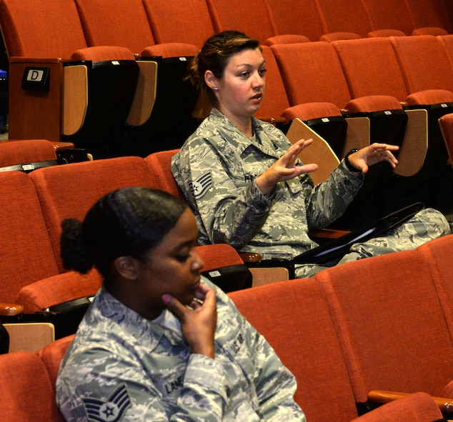 Staff Sgt. Ashlei Philson, the noncommissioned officer in charge of assessments and training at the Equal Opportunity Office, assigned to the 28th Bomb Wing, offers her opinion in response to a question at Backbone University, a course focused on joint leadership development, Sept. 5, 2017, on Ellsworth Air Force Base, S.D. Philson and other participants discussed joint operations and common challenges faced by NCOs. (U.S. Air Force photo by Airman 1st Class Thomas Karol)