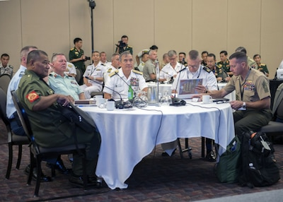 Senior military leaders, including Navy Adm. Harry B. Harris, commander of U.S. Pacific Command, center of table, gather at the 2017 Chiefs of Defense Conference in Victoria, British Columbia, Sept. 5, 2017. The event was co-hosted by Pacom and the Canadian armed forces. The conference brings together military leaders to discuss regional and global challenges and to promote multilateral cooperation in the Indo-Asia-Pacific region. Navy photo by Petty Officer 2nd Class Robin W. Peak