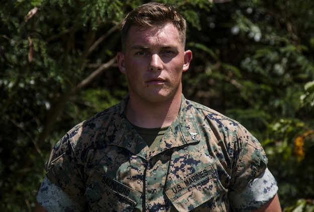 Cpl. Kendall J. Saunders is scheduled to receive the Lance Cpl. James E. Swain Marine Corps Intelligence Enlisted Marines of the Year award in Arlington, Virginia, September 28, 2017. Saunders, who is from Lawson, Missouri, is the noncommissioned officer in charge for the Theater Security Corporations (TSC) cell, 3rd Intelligence Battalion, III Marine Expeditionary Force Headquarters Group, III Marine Expeditionary Force. His service record stood out due to his effort as an intelligence analyst and his non-stop commitment he showed alongside his fellow Marines. (U.S. Marine Corps photo by Cpl. Jessica Etheridge)