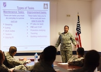 Senior Airman Watts teaches the time management course.