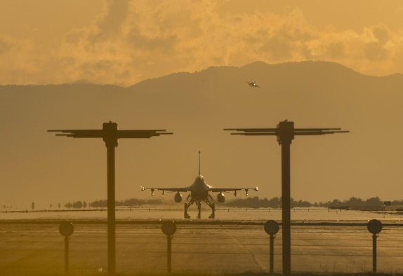 "F-16 Fighting Falcons, assigned to the 35th Fighter Wing, land after conducting daily sorties at Misawa Air Base, Japan, Aug. 31, 2017. Team Misawa personnel operate in the ""fight tonight"" mentality, providing worldwide deployable forces, protecting U.S. allies within the Indo-Asia-Pacific region, sustaining a forward presence and providing focused mission support. If a real-world incident occurs, Misawa AB transforms into a power projection hub for contingency operations, supporting forward-deployed assets. (U.S. Air Force photo by Staff Sgt. Deana Heitzman)"