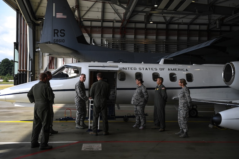 U.S. Air Force Maj. Gen. Timothy G. Fay, United States Air Forces in Europe and Air Forces Africa deputy commander, speaks with the 86th Medical Squadron Critical Care Air Transportation Team during an 86th Airlift Wing immersion tour in the dual bay on Ramstein Air Base, Germany, Sept. 7, 2017.