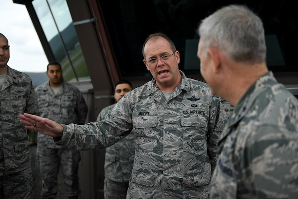 U.S. Air Force Brig. Gen. Richard G. Moore Jr., 86th Airlift Wing commander, speaks with Maj. Gen. Timothy G. Fay, United States Air Forces in Europe and Air Forces Africa deputy commander, during an 86th AW immersion tour at the air traffic control tower on Ramstein Air Base, Germany, Sept. 7, 2017.